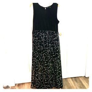 Sleeveless maxi dress with chiffon overlay